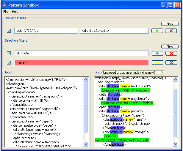 Screenshot of Pattern Sandbox in action